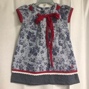 Well Dressed Wolf Blue and Red Dress, Size 2T